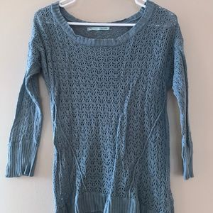 Blue Crochet Lace Sweater